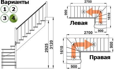 Лестница   К-001м/4 Л c подступенками сосна (7уп)