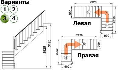 Лестница  К-002м/3  Л  сосна с подступенками (6 уп)